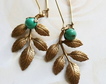 Turquoise Leaf Earrings, Bohemian Earrings, Woodland Earrings