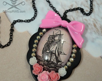 OVERBOARD In PINK- 30 X 40 Glass Cameo Floral Decoden Pendant Necklace
