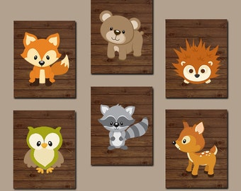 WOODLAND Nursery Wall Art, Wood Forest Animal Artwork, Bear Deer Squirrel OWL Raccoon FOX, Boy Bedroom, Canvas or Prints Set of 6 Pictures