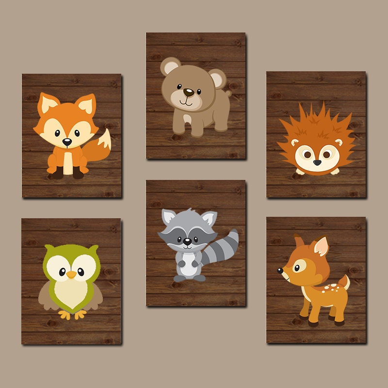 Woodland Nursery Wall Decor : Woodland nursery wall art wood forest animal artwork bear