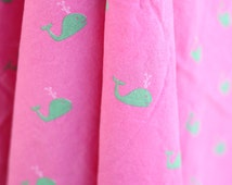 preppy pink and green whale cotton fabric in the form of a twin flat sheet - cute pink girly - nautical ocean sea