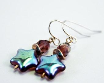 Purple Star Earrings, Free Shipping, Laura Mae Jewelry