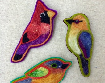 Sparkle Bird Needle Felted Brooch-Choose Your Favorite Bird - by Val's Art Studio