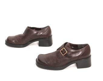 size 7.5 PLATFORM brown leather 80s 90s GRUNGE BUCKLE high heel ankle boots
