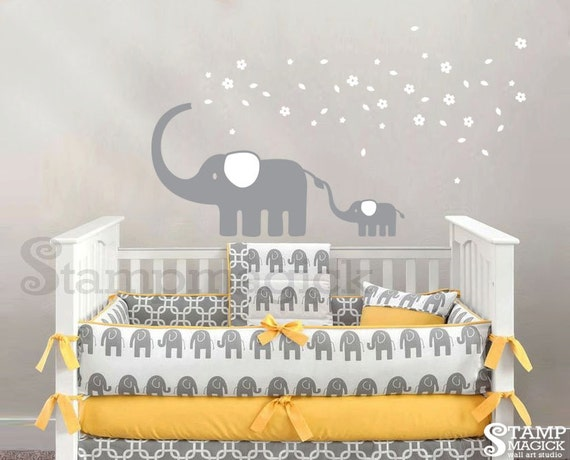 Elephant wall decal blowing flowers wall decal graphics for Stickers habitacion bebe