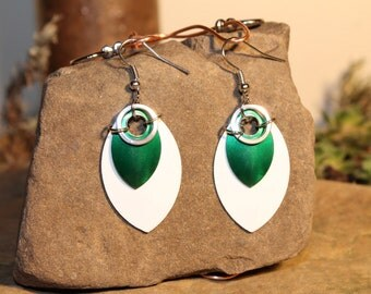 Scale Earrings - Green, White, and Silver