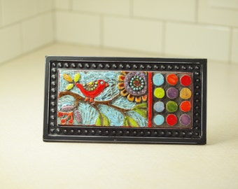 Red Bird on Branch Mosaic Tile, Mosaic Art, Raku Clay Tile Mosaic Framed Art, Colorful Whimsical Botanic Pottery Home Decor Gardener Gift