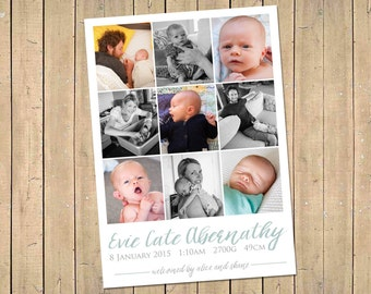 BIRTH ANNOUNCEMENT Collage - Watercolour -  Photo Baby Announcement - Baby Girl or Boy Announcement - Newborn - Modern, Printable, Digital -