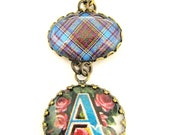 "Scottish Tartan Jewelry - Ancient Romance Series- Anderson Clan Tartan Bow Brooch with Victorian Initial ""A"" Fob Charm"