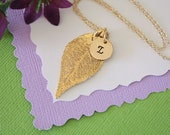 Monogram Leaf Necklace, Gold Leaf, Gold Initial Charm, Gold Evergreen Leaf, Personalized, Initial Jewelry, Bridesmaid Gift