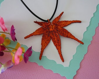 Copper Maple Leaf, Real Leaf, Japanese Maple Leaf, Copper Maple, Real Maple Leaf Necklace, LL78