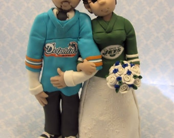 Custom wedding cake topper, personalized cake topper, Bride and groom cake topper, Mr and Mrs cake topper, Sports themed cake topper