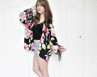 Floral kimono jacket, fringe kimono, boho kimono, floral print, floral fringe kimono, summer jacket, festival clothing, boho, hippie