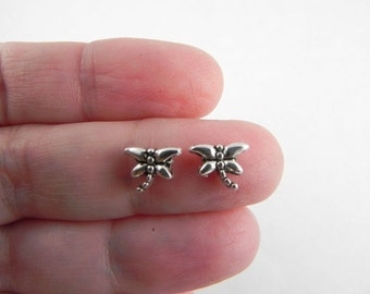 50 Dragonfly Spacer Beads - Antiqued Silver - 6mm x 7mm - Tiny Spacer Beads - Bulk