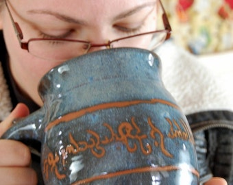 Huge Slate Blue Elvish Mug - Made to Order