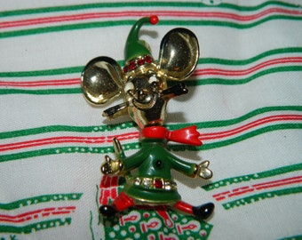 Vintage Christmas Mouse Pin, Mice, Red Hat, Red Rhinestone Christmas Mouse