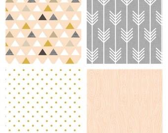 Custom Crib Bedding-3 piece-Gold Blush Arrows