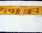 etching, wash day, printmaking, orange, rust, yellow, sunshine, sun, clothes, fabric, home interior, country style, farm kitchen, summer