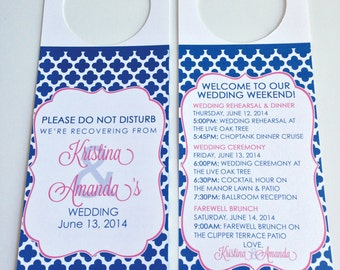 Wedding Door Hangers,Do Not Disturb Door Hanger,Quatrefoil,Wedding Do Not Disturb Sign,Destination Wedding Favor,Out of Town Bag,Welcome Bag