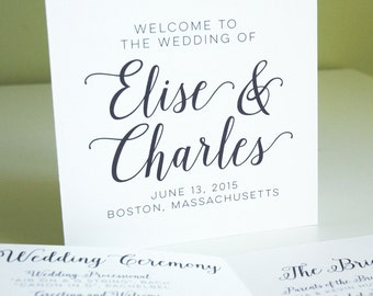 Wedding Program, Ceremony Program, Calligraphy, Unique Programs, Wedding Ceremony, Wedding Party, Modern Program, Square Wedding Program