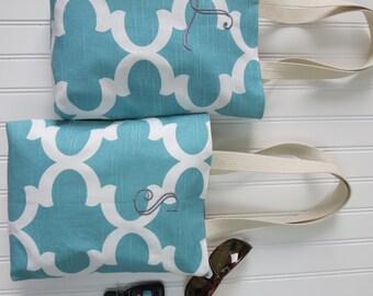 Wedding Welcome Bags - Bridesmaid Gift Idea -  Quatrefoil Mini Totes - Personalized Bridesmaid Gifts - Monogrammed Bridesmaid Bag