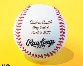 Ring Bearer gift, Baseball, Groom, Bride, Custom Personalized Engraved Baseball, Ring Bearer, Keepsake, Christmas Gift, Design #2