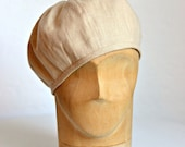 Women's Beret in Wheat Linen - Beret Hat - Made To Order - 3 WEEKS FOR SHIPPING