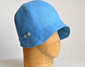 1920s Cloche Hat in Blue Linen - Women's Cloche Hat - READY TO SHIP via 3 Day Priority