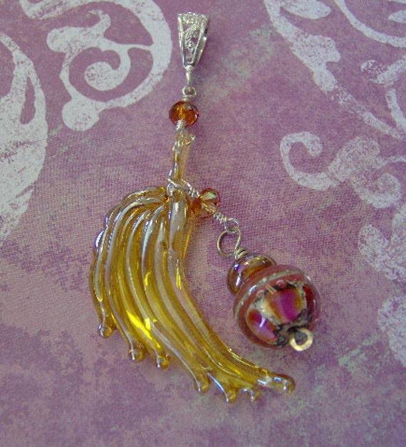 Lampwork Bead Angel Winged Artisan Pendant-Sterling Silver - Artisan Jewelry-Statement Jewelry Pendant-SRAJD-Christmas Jewelry