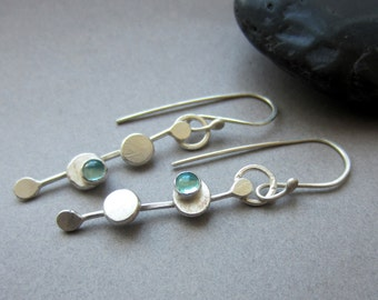 "40% OFF aqua apatite silver ""Dotted Line Dangle"" earrings"