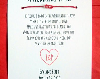 Monogram Heart - A Wedding Wish - Infinity Knot Wish Bracelet Wedding Favor Custom Made for You