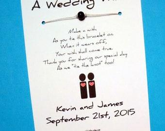 Same Sex Marriage (Male Couple) - A Wedding Wish - Unity Bead Wish Bracelet Wedding Favor Custom Made
