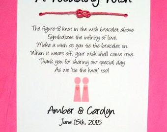 Same Sex Marriage (Female Couple) - A Wedding Wish - Infinity Knot Wish Bracelet Wedding Favor Custom Made