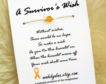 A Survivor's Wish. The Wish Bracelet for Childhood Cancer & Osteosarcoma Awareness. Gold Ribbon Edition.