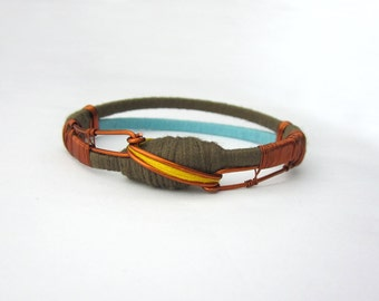 Fiber bangle bracelet,copper wire bracelet,ethnic ethno chic bracelet,brown