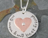 Customized My Mom & My Best Friend Pendant - Multi Metal Sterling Silver and Copper Charm with Sterling Silver Chain-Mother's Day