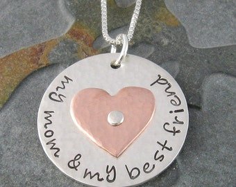 Necklace for Mom,Customized Multi Metal Sterling Silver and Copper My Mom & My Best Friend
