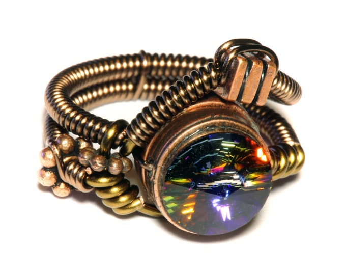 Steampunk Jewelry - Steampunk Wire Ring with Volcano Swarovski Crystal