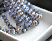 Purple Haze - Czech Glass Beads, Translucent Lavender, Milky Opalite Satin Blue, Firepolish, Facet Rondelle  7x5mm - 15Pc