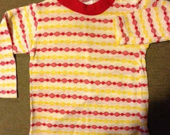 1970s SEARS red & yellow Perma Prest long sleeve toddler shirt
