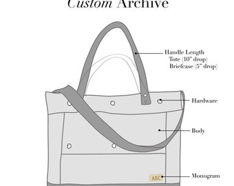 Custom Canvas Archive Tote - Monogrammed Laptop Briefcase Attorney Bag in Canvas and Leather - Archive Bag - Made to Order - Custom Bag