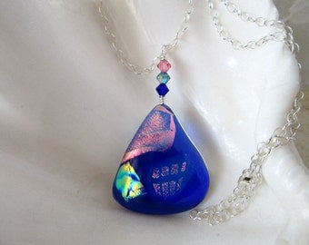 Blue Dichroic Fused Glass Necklace with Sterling Silver Chain and Swarovski Elements Crystals