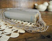 layered yellow crochet necklace ~ grey linen