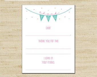 Girls Flag Banner Kids Thank You Cards - 10 Fill In, thank you cards & envelopes - printed with eco friendly soy ink