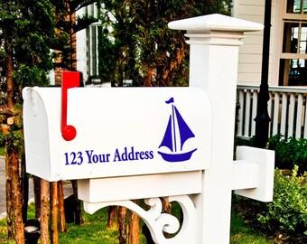 "Sailboat Mailbox Vinyl Decal Address sticker, Mailbox Decals, 15.5"" X 7.5"" , Address Decals, Lake house, beach house, coastal"