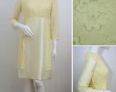 Vintage 1960s Dress Satin Lace Overlay Lemon 60s Yellow Spring Summer Wedding Bridesmaid Empire Line Cocktail Evening Dress