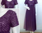 Vintage Night Dress Purple Frilled Frilly Empire Line Long Negligee Nightie Nylon Size Medium UK 12-14 1960s 60s Sleepwear Nightwear