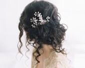 Wedding hair clip, crystal pearl, bridal hair brooch - Sassafras no. 2044