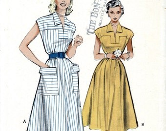 Butterick 5732 Casual Yoked 1950s Dress Sleeveless Drindl Skirt Size 16 Bust 34 Uncut Vintage Sewing Pattern 1950s