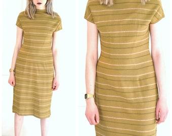 1950s WOOL sheath dress / vintage 50s minimalist striped olive green ITALIAN designer fitted MIDI winter sweater dress / medium 7 8